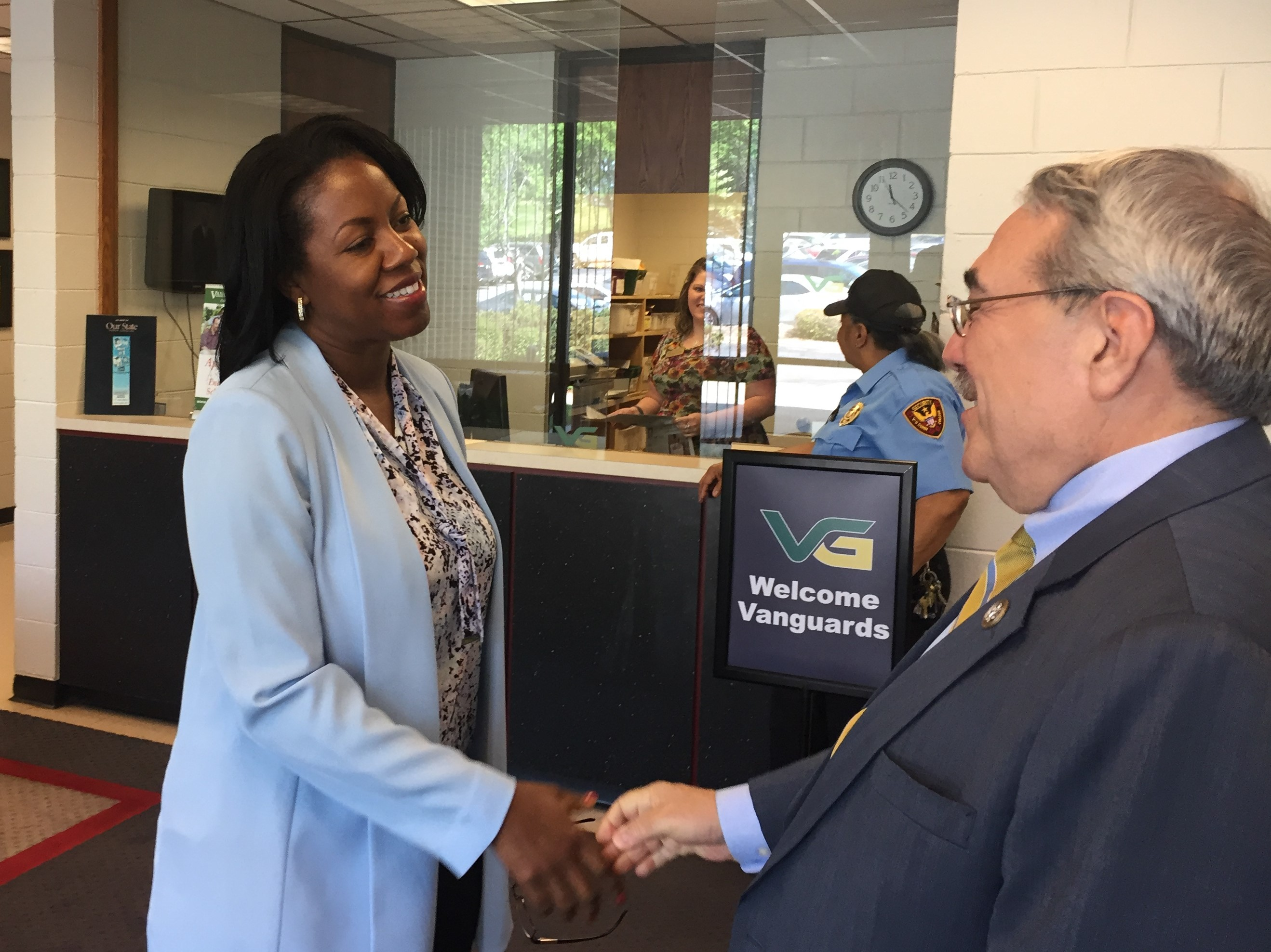 Vance-Granville Community College President Stelphanie Williams greets Congressman Butterfield during a campus visit