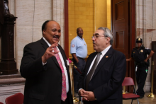 Congressman Butterfield discussing with Martin Luther King, III