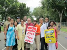 Congressman Butterfield with other Members of Congress marching to protect voting rights