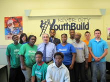 Congressman Butterfield with students of River City YouthBuild