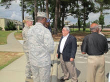 Congressman Butterfield speaking with soldiers