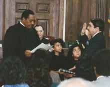 Congressman Butterfield being sworn in as a judge in North Carolina