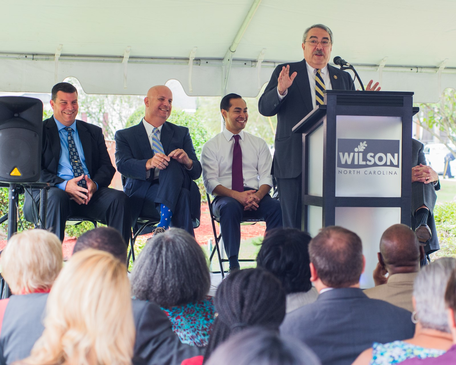 Butterfield welcomes U.S. Housing and Urban Development Secretary Julián Castro to Wilson.