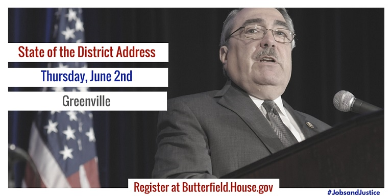 Butterfield to Host State of the District Address in Greenville on June 2