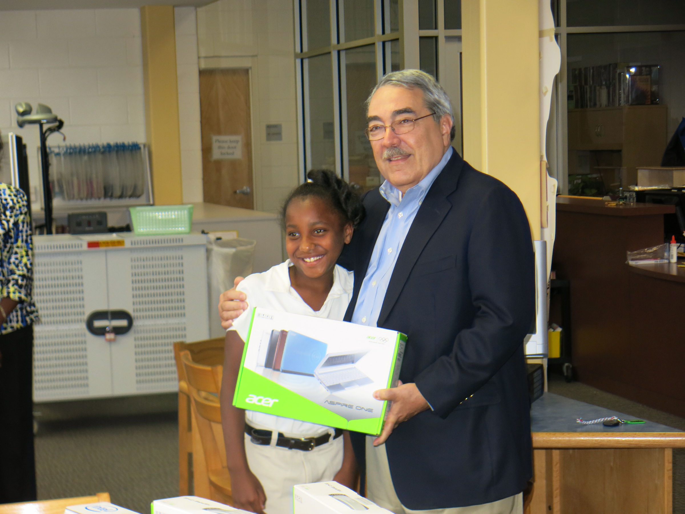 Congressman Butterfield with an elementary school student