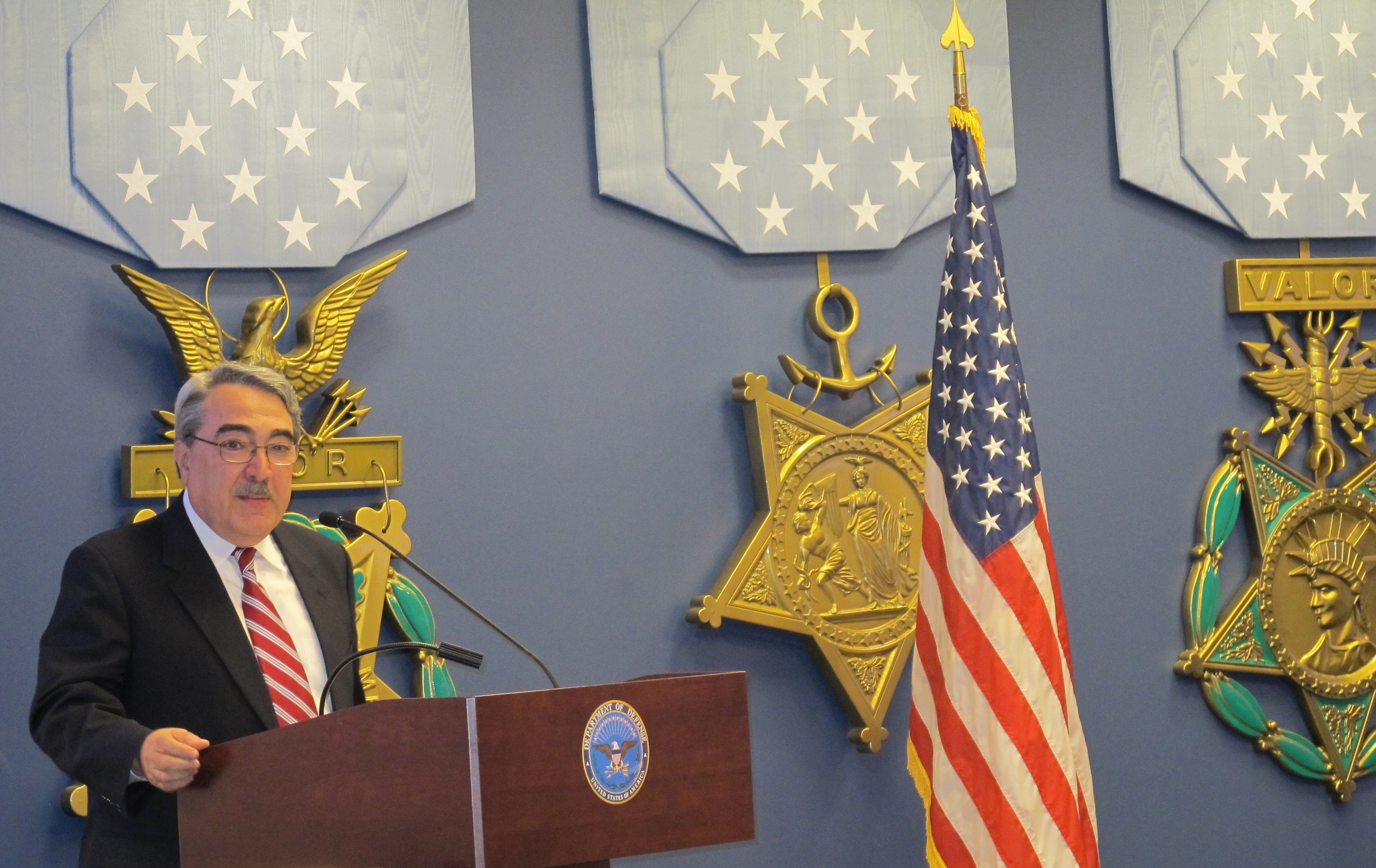 Congressman Butterfield speaking at the Pentagon