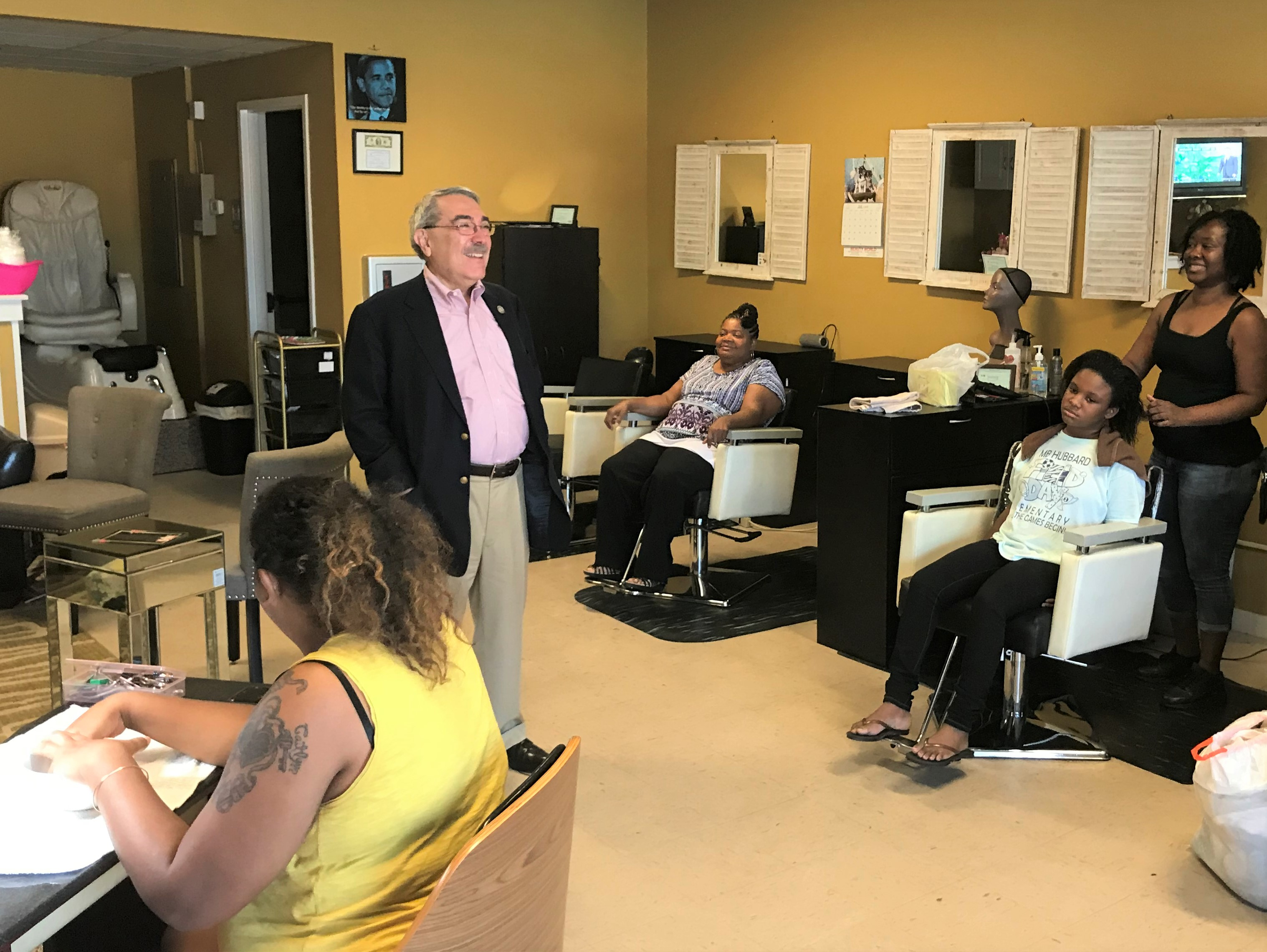 Congressman Butterfield Speaks with Employees and Residents at Nancy's Creation Hair Salon in Rocky Mount